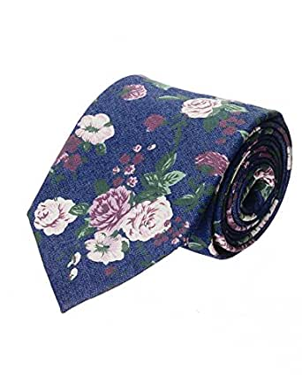 FLATSEVEN Mens Floral Printed Pattern Cotton Neck Tie (YA020) Dark Blue