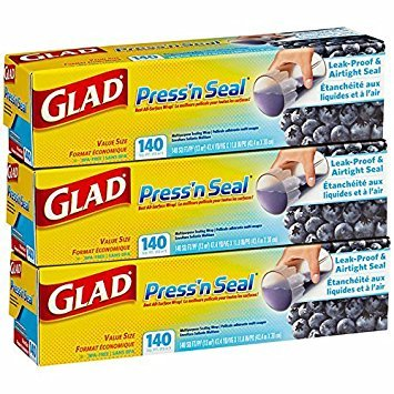 (Mega Value Glad Press'n Seal, All Surface Cling Wrap, Leak-Proof and Airtight Seal, BPA Free, Total 420 sq ft)