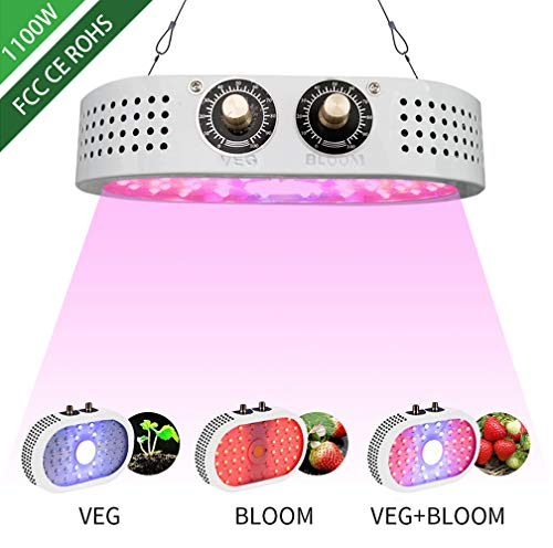 1100W LED Grow Light,Full Spectrum with UV&IR,Double-Chips LED Growing Lamp with Bloom and Veg Switch for Greenhouse Hydroponic Indoor Plants vegs and Flowers