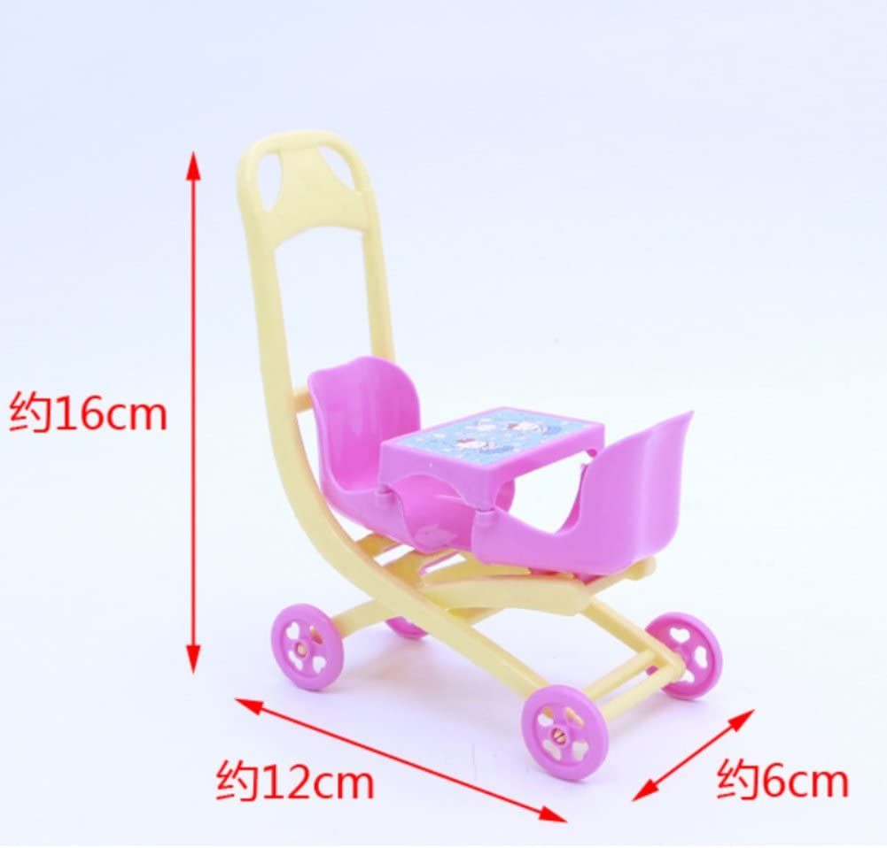 Gemini/_mall/® Baby Carriage Walking Stroller Lovely Plastic Trolley with Doll For Barbie Doll Nursery Furniture for Girls