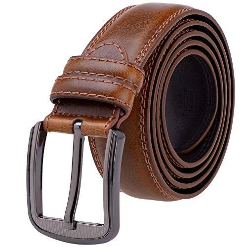 Light Brown Leather Belt Strap (Vbiger Vintage Mens Belt 1 1/2