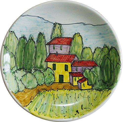 PAESAGGIO-TOSCANO-Piatto-di-ceramica-decorato-a-mano-dimensioni-cm-15MADE-in-ITALY-Toscana-Lucca-certificato