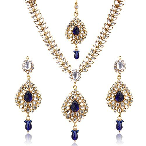 Sparkling Drop with Kundan Leaves Faux Indian Necklace Set Blue D7b