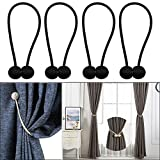 ENETY 4 pcs European Style Window Curtains Tieback Magnet Curtains Buckle Magnetic Curtain Holder Curtain Strap Accessories Drapes Weave Holdbacks (2 pair) (black)