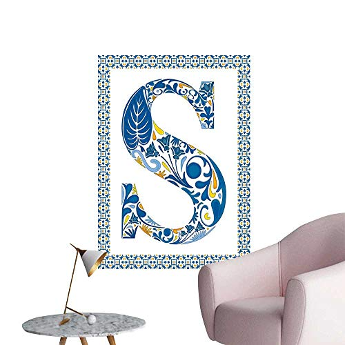 Alexandear Letter S Waterproof Art Wall Paper Poster Old Fashioned Alphabet Typography Design in a Frame with Azulejo Motifs TV Backdrop Wall Blue Yellow Orange W32 x H48]()