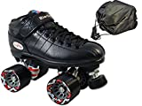 Riedell R3 Black Speed Skate 2 Pc Bundle with Drawstring Bag (Mens 9 / Ladies 10)