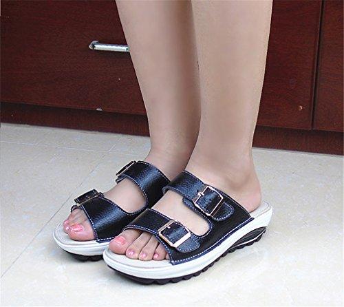 Diapositivas Plataforma Sandalias mujer Zapatos mujer ocasionales Black playa de Zapatos de cuero mujer genuino de Cuñas de de Chanclas de verano vq6vA