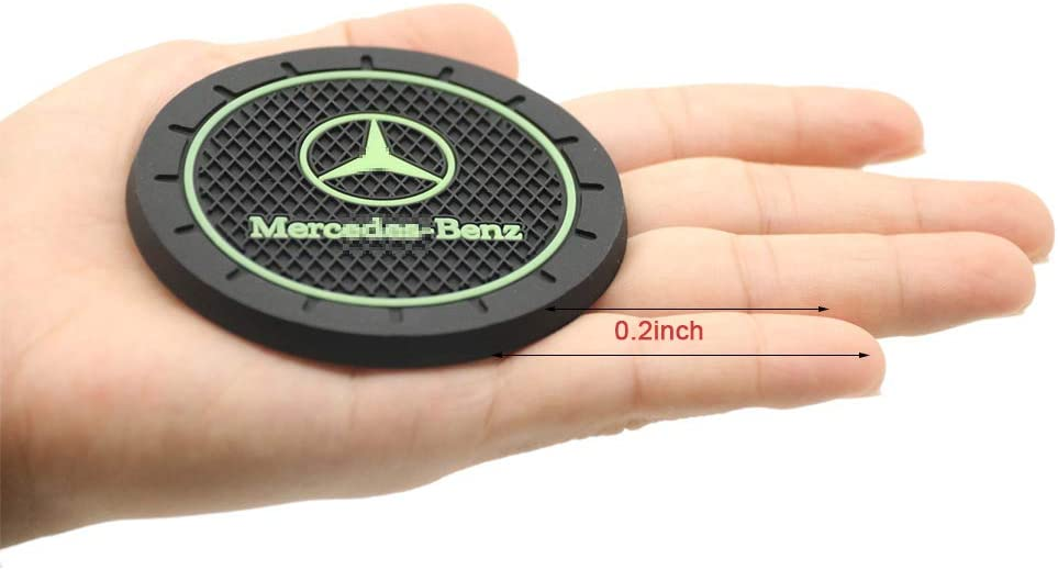 /2Pcs 2.75 inch Black Luminous/Cup Holder Coasters/Silicone Anti Slip Cup Mat Fit for Mercedes-Benz