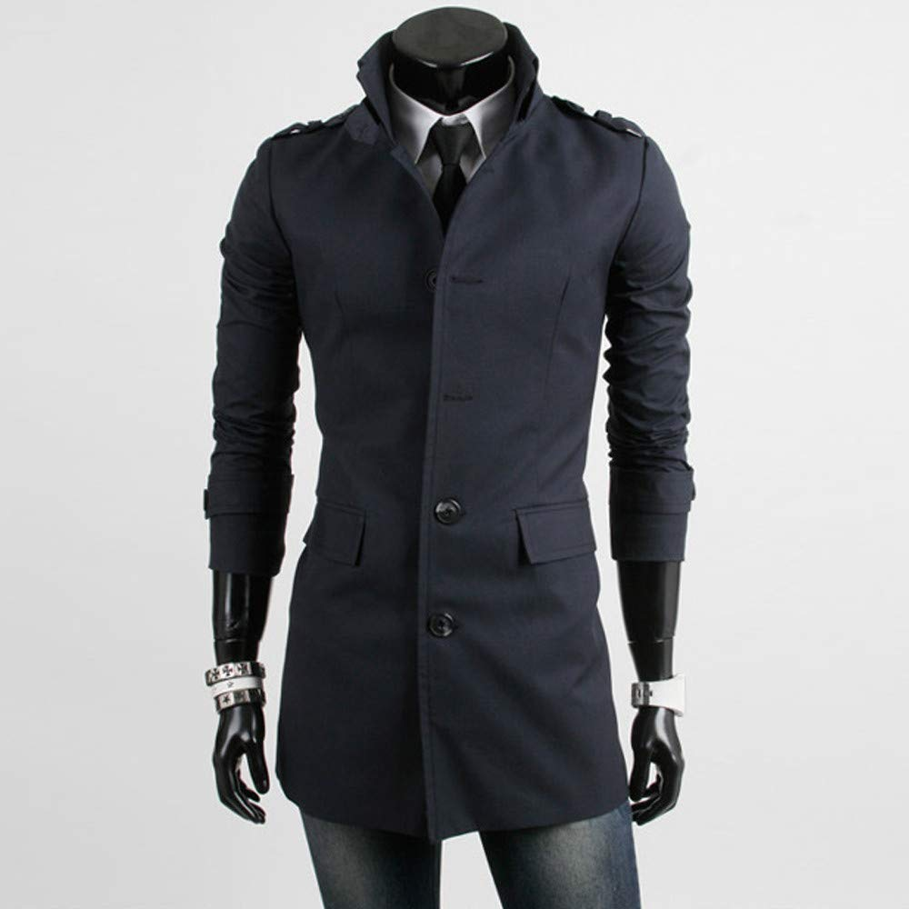 Amazon.com: Dreamyth Men Long Sleeve Cotton Jacket Warm Winter Trench Long Outwear Button Smart Overcoat: Sports & Outdoors