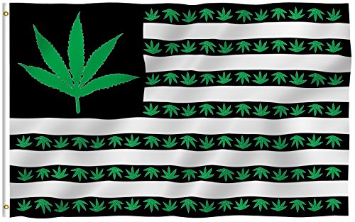 ANLEY [Fly Breeze] 3x5 Foot Marijuana Leaf USA Polyester Flag - Vivid Color and UV Fade