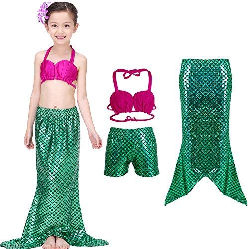 Lestore Girls Stylish 3 Pcs Princess Mermaid Tail Swimmable Bikini Set Swimwear (7-8 Years)