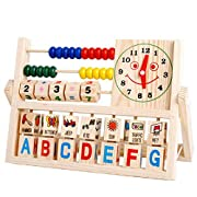 MOONHOUSE Baby Kids Funny Learning Developmental Flap Abacus Wooden Toys