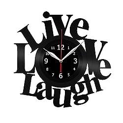Live Love Laugh Vinyl Record Wall Clock Decor Handmade Unique Original Gift