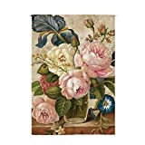 ONCEFIRST Linen Tapestry Noren Japanese Curtain for Door Doorway Curtain Bottle of Flowers 5 31.5''X59.1''