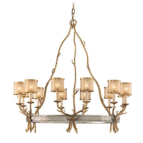 (Corbett 66-012, Parc Royale Glass Chandelier Light, 12 Light, 240 Watts, Gold And Silver Leaf)
