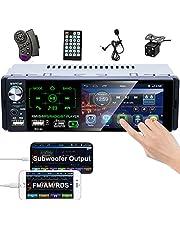 Camecho autoradio Bluetooth 4 inch capacitief touchscreen ontvanger radio FM/AM/RDS stereo voor auto met dual USB-poort/AUX-in / SD-kaart + achteruitrijcamera + afstandsbediening op het stuur
