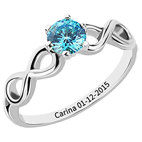 (Ouslier 925 Sterling Silver Personalized Birthstone Infinity Name Ring with Engraving Inside)
