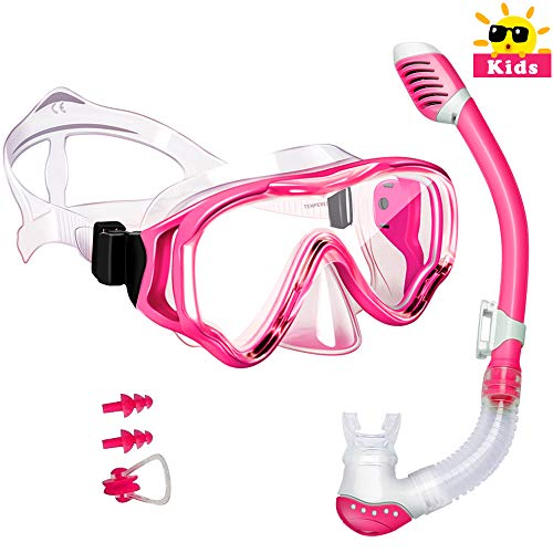 Powsure Kids Snorkel Set-Dry Top Seaview Snorkel Mask with Big Eyes Anti-Fog Tempered Glass for Children, Boys, Girls,Youth, Breath Underwater Silicon Mouth Piece for Snorkeling, Swimming, Diving ()