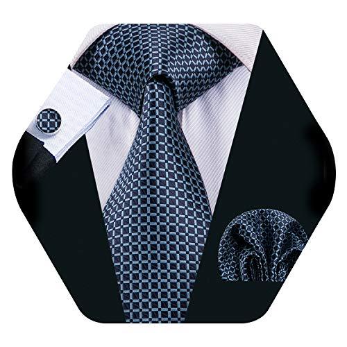 Light Blue Tie Check Set Men Business Necktie Handkerchief Cufflinks Classic Formal