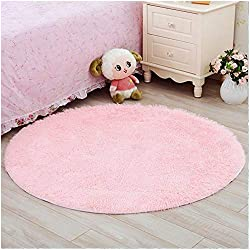 YJ.GWL Ultra Soft Round Fluffy Pink Area Rugs for Girls Bedroom Anti-Slip Shaggy Nursery Rug Kids Room Carpets Cute Children Play Mat 4 Feet