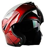 ILM 10 Colors Motorcycle Dual Visor Flip up Modular Full Face Helmet DOT (M, Red)