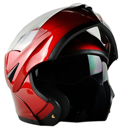 ILM 10 Colors Motorcycle Flip up Modular Helmet DOT(L, Red) ()
