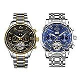 MonkeyJack 2 Pieces KINYUED Mens Automatic Mechanical Wristwatch 3ATM Waterproof Calendar Watch Christmas Birthday Gift