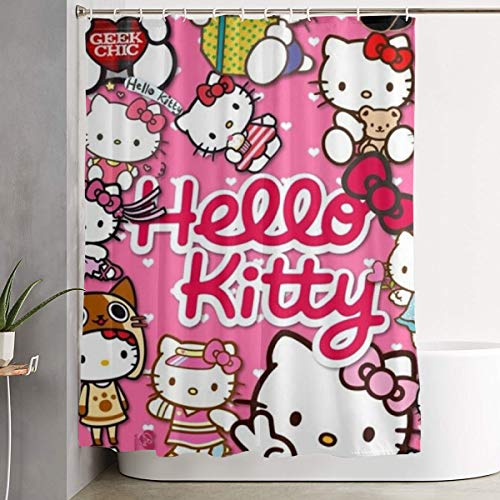 LYULIAN Different Hello Kitty with Hook Stylish Shower Curtain Printing Waterproof Bathroom Curtain 60 X 72 Inches