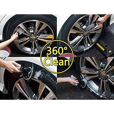 2 Pcs Steel and Alloy Wheel Cleaning Brush, Rim Cleaner for Your Car, Motorcycle or Bicycle Tire Brush Washing Tool: Automotive