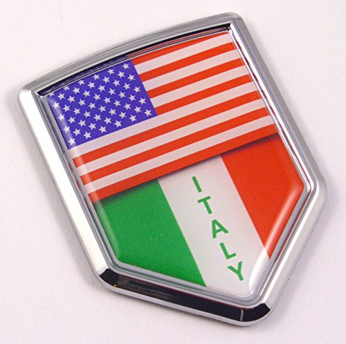 - USA Italy American Italian Flag Car Chrome Emblem Decal Sticker with adhesive