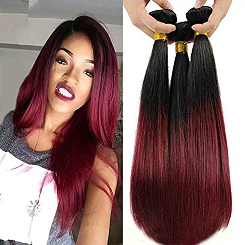 Top Hair Peruvian Ombre Burgundy Hair Extensions Black To Red Straight Weave Two Tone 4 Bundles 14 16 18 20 Inches Total 200 Gram