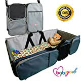 3 in 1 Diaper Bag - Travel Bassinet - Change Station by BabyGarb. With EZ Travel Bed's fold-n-go design, setup and put away is easy. A Lounge to go, Tote Bag, Infant Carrycot, Nursery Porta Crib.