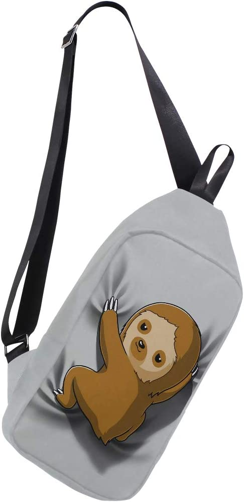 Cute Sloth Sling Grey Bag Chest Shoulder Unbalance Gym Fanny Backpack Daypack Rucksack