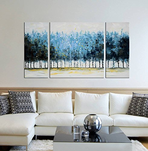 Modern 100 Hand Painted Canvas Painting Art Work For Wall Decor Home Decoration Lush Forests 3 Piece Gallery Wrapped Flower Oil On