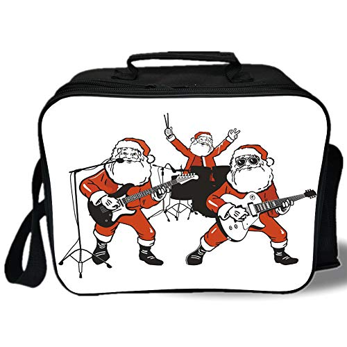 Funny 3D Print Insulated Lunch Bag,Santa Claus Rock Band Playing Drums Guitar Father Christmas Show Print Decorative,for Work/School/Picnic,Orange Charcoal Grey