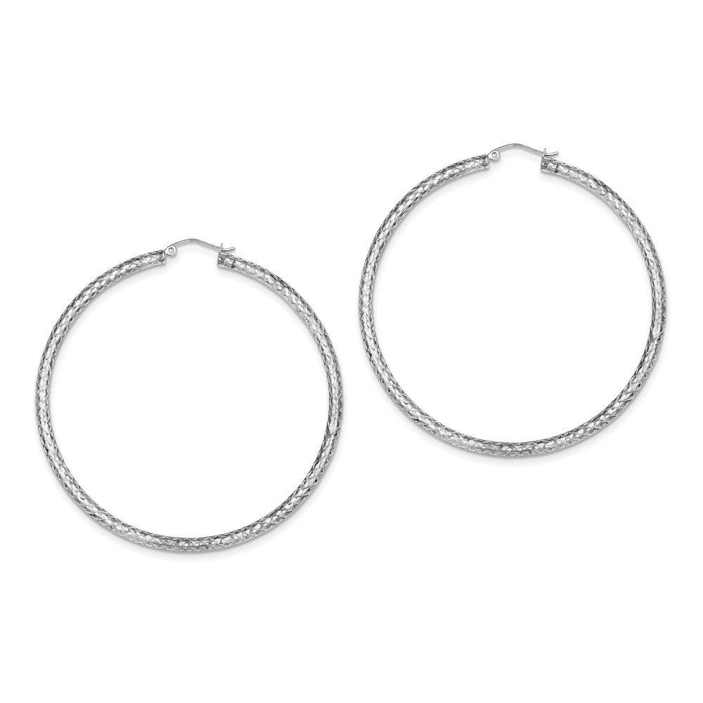925 Sterling Silver Rhodium-plated D//C 3x65mm Hoop Earrings