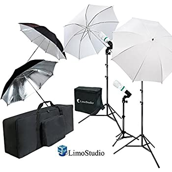 Limostudio white and black umbrella reflector photography video studio continuous lighting kit photo bulb and