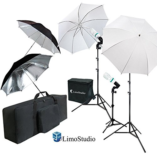 LimoStudio White and Black Umbrella Reflector Photography Video Studio Continuous Lighting Kit, Photo Bulb and Socket with Umbrella Insert Hole, Light Stand Tripod, Carry Bag, Photo Studio, AGG2103 by LimoStudio