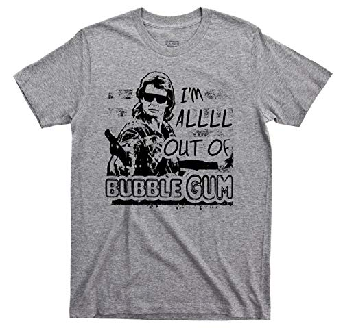 They Live T Shirt I'm All Out of Bubblegum Rowdy Roddy Piper John Carpenter Movie Tee (2XL, Sport Gray)