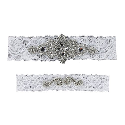 Samfly Garter Bridal Wedding Garter 2 Pieces Belt Set Lace With Rhinestones