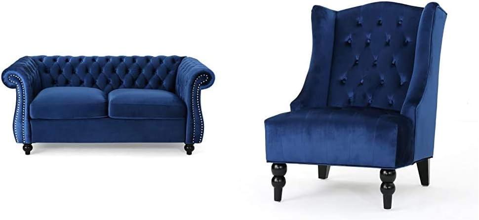 Christopher Knight Home 306027 Karen Traditional Chesterfield Loveseat Sofa, Navy Blue and Dark Brown, 61.75 x 33.75 x 27.75 & Toddman High-Back Velvet Club Chair, Navy Blue