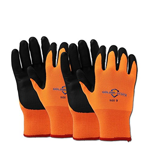 Golden Scute Hi Vis Freezer Work Gloves,Touchscreen Applied, Micro-Foam Nitrile Coated, Cold Weather Gloves for Shoveling Snow,Outdoor Heavy Duty Work,2 Layers,2 Pairs(Large/Size 9)