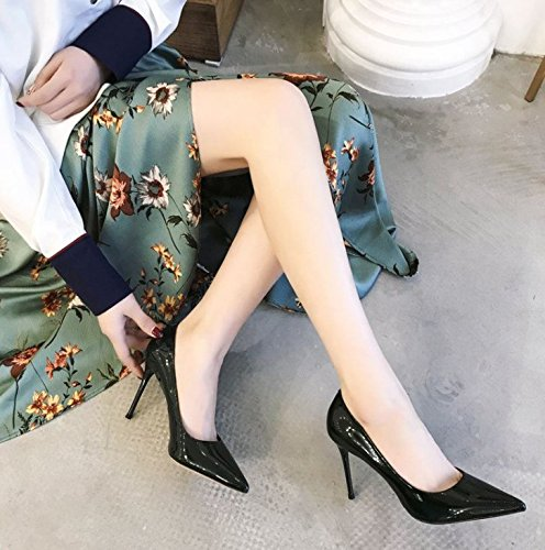 MDRW Fine 39 With Patent All Tip Elegant Shoes Heels Dark Spring 9Cm High Lady Match Fashion Work A Sexy Leisure Leather Green OrPO1gq