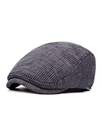 Anshili Men's Adjustable Winter Warm Ivy Newsboy Cap(Grey)