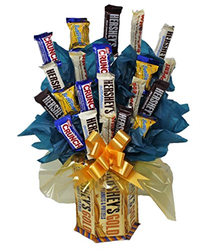 Candy Bouquet | Mini Candy Assortment | Hershey Gold | Graduation | Appreciation | Congratulations | Get Well Soon | Happy (Sweet Assortment Candy Bouquet)