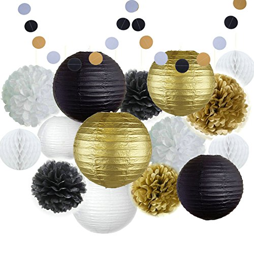 Happy New Year Party Decorations Black White Gold Tissue Paper Pom Pom Paper Lantern Paper Honeycomb Balls Polka Dot Garland for Great Decorations/ New Year's Eve Party /Birthday Decorations/Shower ()
