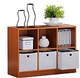 Furinno 99940LC/IV Basic 3x2 Bookcase Storage w/Bins, Light Cherry/Ivory