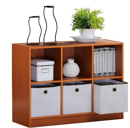Short Wall Cabinet - Furinno 99940LC/IV Basic 3x2 Bookcase Storage w/Bins, Light Cherry/Ivory