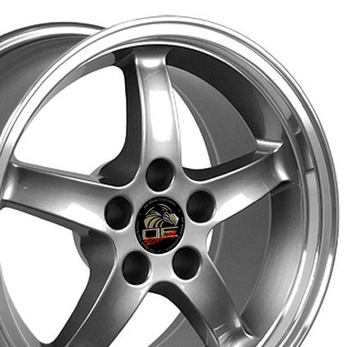 17x9 Wheel Fits Ford Mustang - Cobra R Style DD Gunmetal w/Mach'd Lip Rim (17x9 Wheel Replica)
