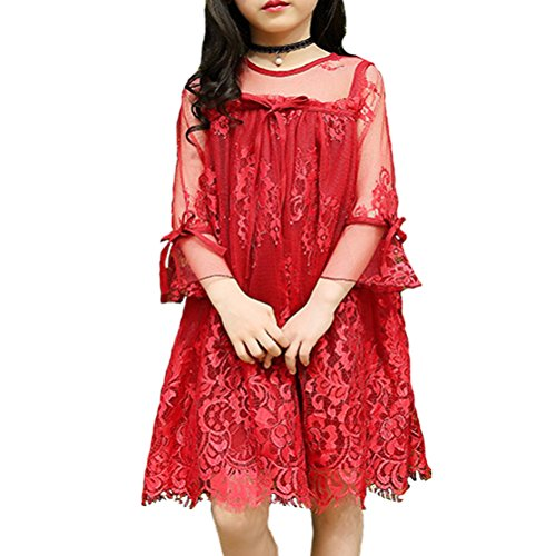 JET-BOND Little Girls Cloth Dress Short Sets T-shirts Skirts Tops Colorful Printings Lace Silk Cotton Jersey for 3-10 Ages BB22 (4, 19#)